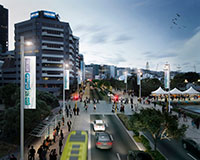 Artist impression of how the mass transit route could look on the waterfront quays (Jervois Quay)
