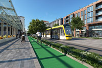 Artist impression of how a mass transit route could look on Taranaki Street